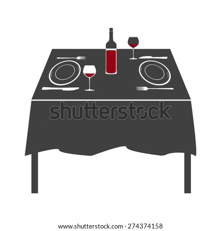 Vector illustration of table setting for two person. Black and white. Romantic dinner with red wine. - stock vector