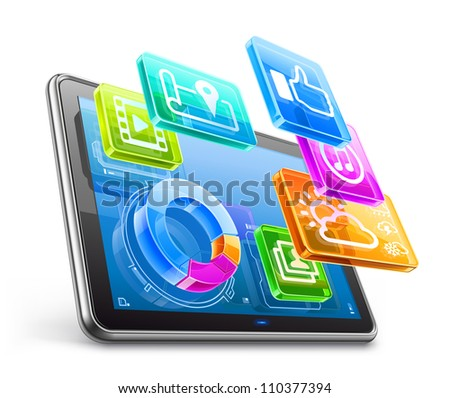 Vector illustration of tablet PC with application icons and pie chart isolated on white background - stock vector