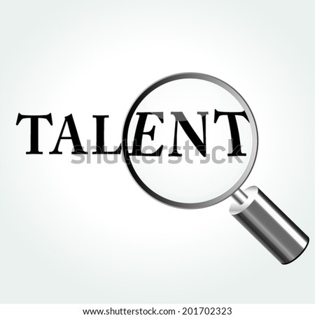 Vector illustration of talent concept with magnifying