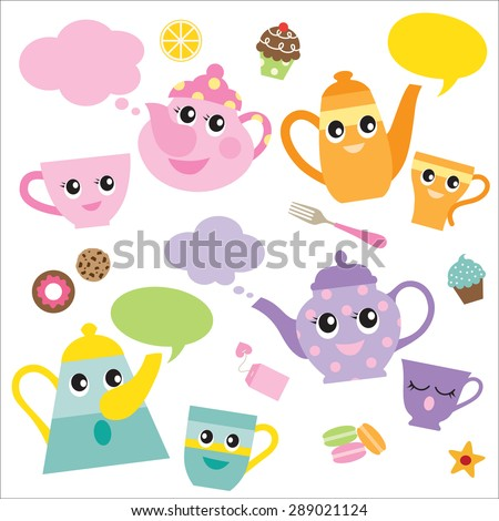 Vector illustration of talking teapots and teacups cartoon characters. - stock vector