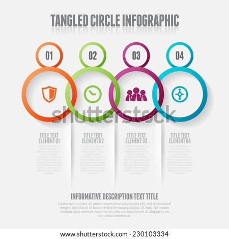 Vector illustration of tangled circle infographic design elements. - stock vector