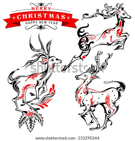 vector illustration of Tattoo Style reindeer on Holy Christmas Background - stock vector