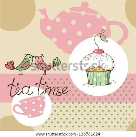 vector illustration of tea party set - stock vector