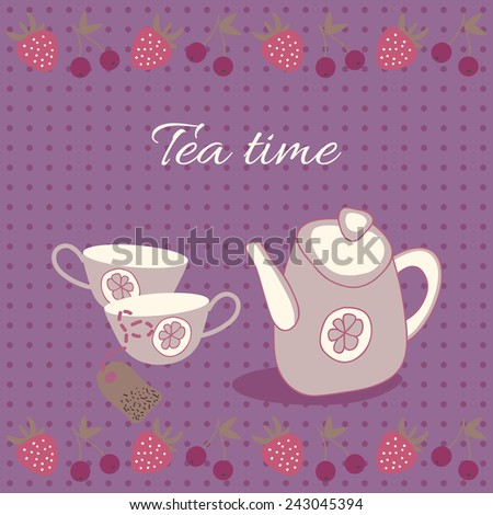 Vector illustration of tea party set. Menu for restaurant, cafe, bar, coffee house - stock vector