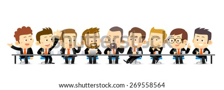 Vector illustration of Team Working In Office.Successful Business Partners Discussing Ideas At Meeting. Caucasian People.