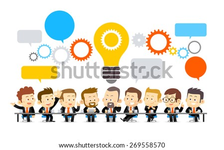 Vector illustration of Team Working In Office.Successful Business Partners Discussing Ideas under big gear, speech bubble and lightbulb At Meeting . Caucasian People.