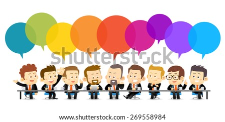 Vector illustration of Team Working In Office.Successful Business Partners Discussing Ideas under color speech bubbles At Meeting. Caucasian People. - stock vector