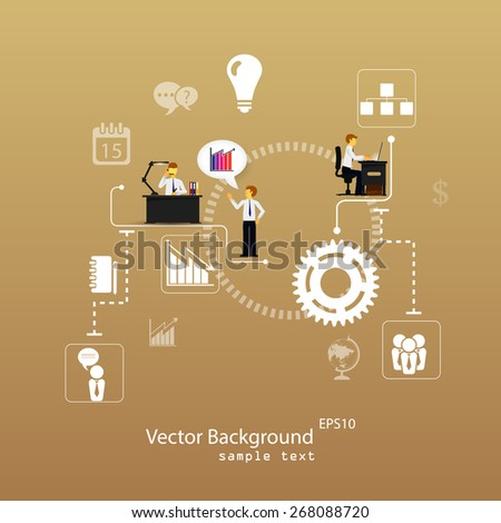 Vector illustration of teamwork, business template with flat icons. - stock vector