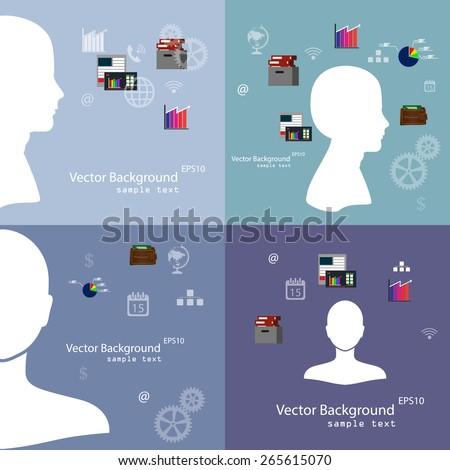 Vector illustration of teamwork, set background - stock vector