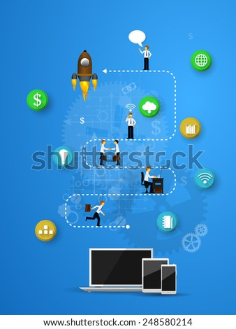 Vector illustration of teamwork, showing the transaction, graphics, cooperation - stock vector