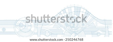Vector illustration of technical draft background. Can be easily colored and used in your design. - stock vector