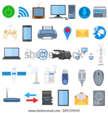 vector illustration of technology icon collection - stock vector