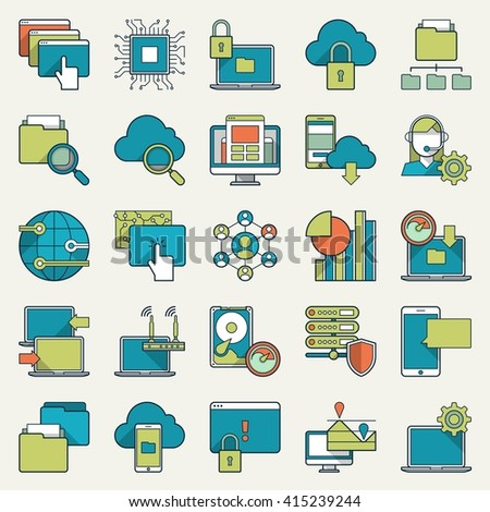 vector illustration of technology icons - stock vector