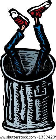 Vector illustration of teen boy dumped in trash can - stock vector