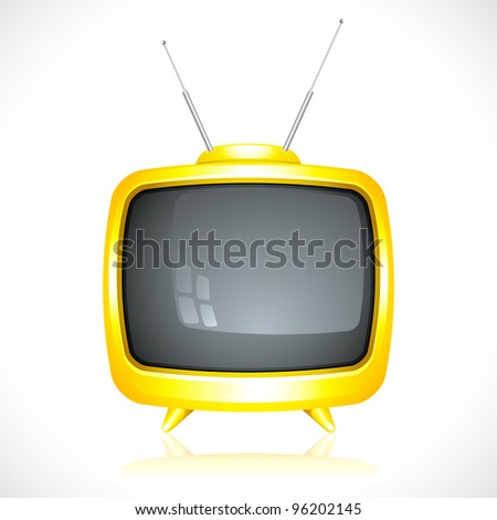 vector illustration of television with antenna on white background