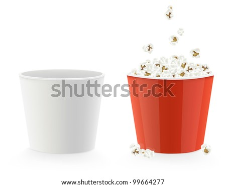 Vector illustration of template cardboard popcorn cups