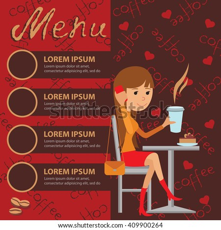 Vector illustration of template for menu, brochure for a cafe or restaurant with picture of young girl sitting at table drinking and using phone. - stock vector