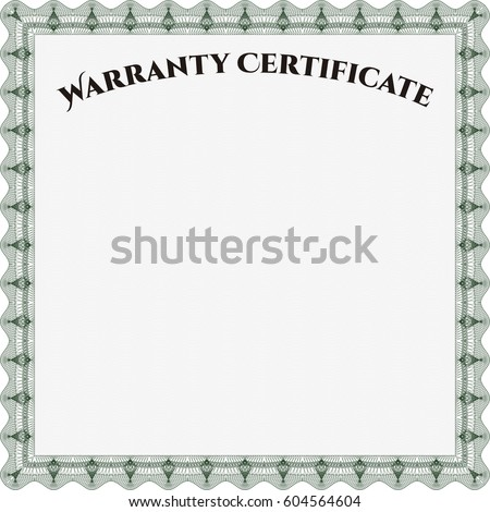 Vector illustration of Template Warranty certificate. Border, frame. Lovely design. Complex background.