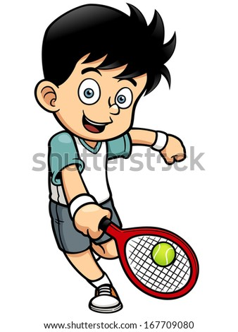 Vector illustration of Tennis Player - stock vector