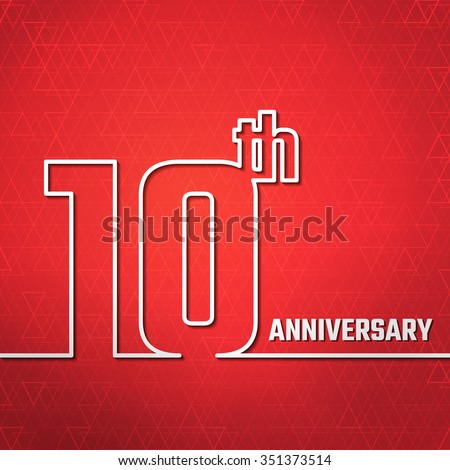 Vector Illustration of 10th Anniversary Outline for Design, Website, Background, Banner. Jubilee silhouette Element Template for greeting card - stock vector
