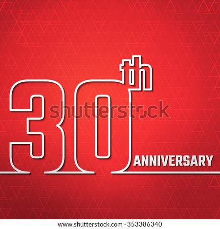Vector Illustration of 30th Anniversary Outline for Design, Website, Background, Banner. Jubilee silhouette Element Template for greeting card - stock vector