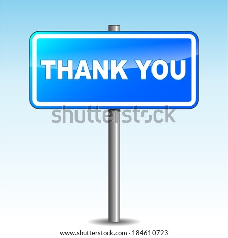 Vector illustration of thank you blue sign on sky background