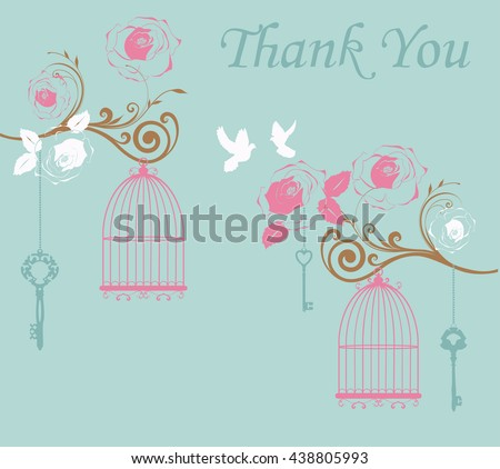 vector illustration of thank you card with birds and cages