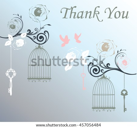vector illustration of thank you card with vintage cages