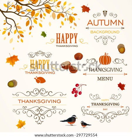 Vector Illustration of Thanksgiving Design Elements - stock vector