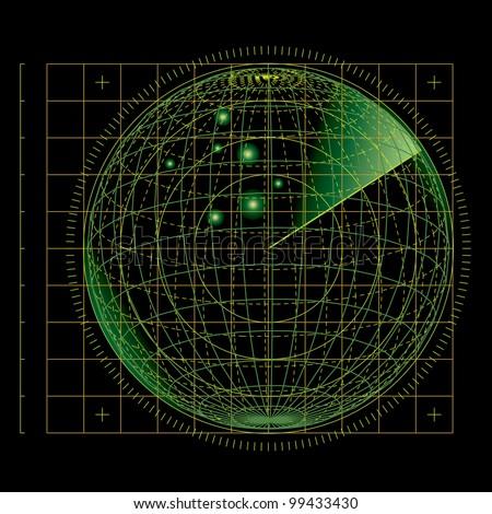 vector illustration of the abstract green radar screen - stock vector