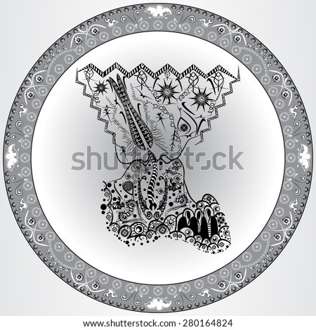Vector illustration of the abstract kiss with decorative and vintage elements. Man kissing woman. Zentangle and doodle style. Monochrome image. - stock vector