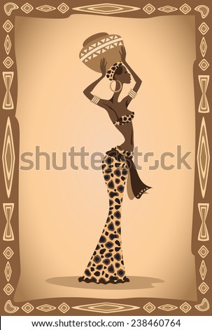 Vector illustration of the african woman. - stock vector