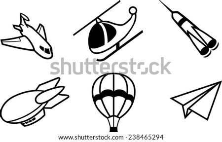 Vector illustration of the aircrafts symbols set - stock vector