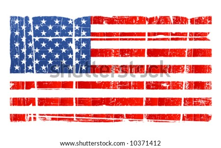 Vector illustration of the American flag in accurate proportions with a grungy distressed look. Separated on layer. Detailed dirt. - stock vector