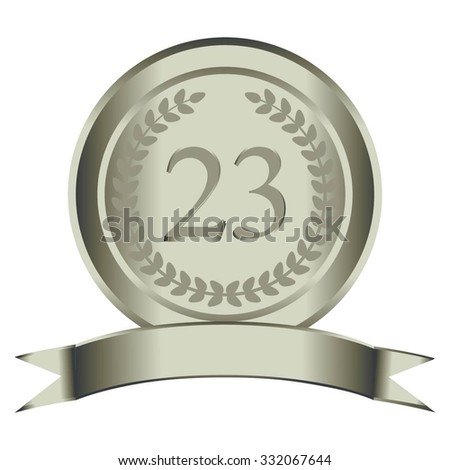 Vector illustration of 23 the anniversary. Silver laurel wreath and ribbon.