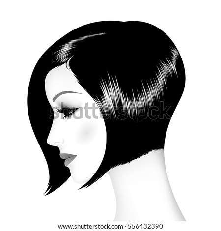 Vector illustration of the beautiful girl, profile