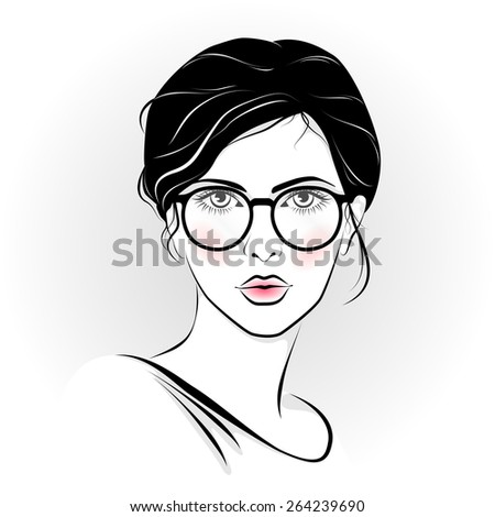 Vector illustration of the beautiful girl with glasses - stock vector