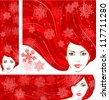 Vector illustration of the beautiful winter girl with snowflakes in red hair. Three banners: vertical, horizontal and square, for your Christmas or winter design - stock vector