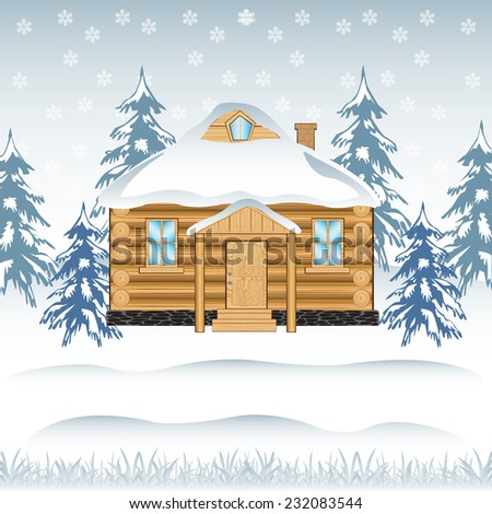 Vector illustration of the building in wood in winter