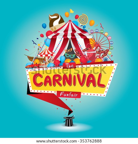 Vector illustration of the carnival funfair design.  - stock vector