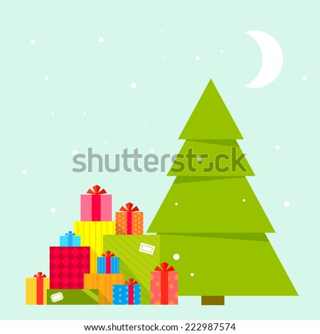 Vector illustration of the Christmas tree and piles of presents under it on blue background with snowflakes and moon. Color bright flat design for card, banner, poster, advertising, blog  - stock vector