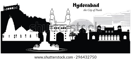 Vector illustration of the city skyline of Hyderabad, India