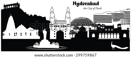 Vector illustration of the cityscape skyline of Hyderabad, India