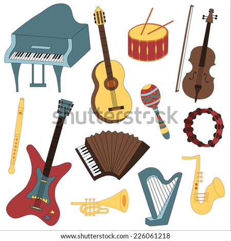 Vector illustration of the collection of musical instruments - stock vector