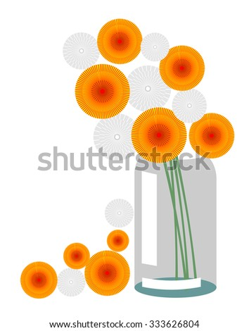 Vector illustration of the composition of the dandelion, orange and faded gray, in a transparent jar, isolated over white background - stock vector