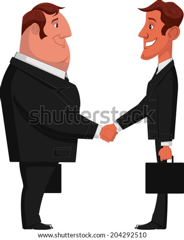 vector illustration of the concept of successful partnership agreement business people cooperation, collaboration and decision handshake of two businessman - stock vector