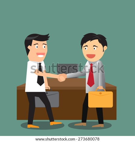 vector illustration of the concept of successful partnership agreement business people cooperation. - stock vector