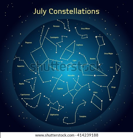 Vector illustration of the constellations of the night sky in July. Glowing a dark blue circle with stars in space Design elements relating to astronomy and astrology - stock vector