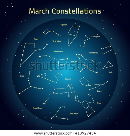 Vector illustration of the constellations of the night sky in March. Glowing a dark blue circle with stars in space Design elements relating to astronomy and astrology - stock vector