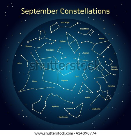 Vector illustration of the constellations of the night sky in September. Glowing a dark blue circle with stars in space Design elements relating to astronomy and astrology - stock vector